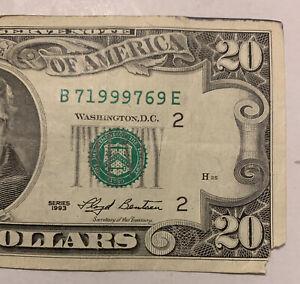 $20 Dollar Bill 1993 B2 District FRN  Serial Number: B 71999769 E