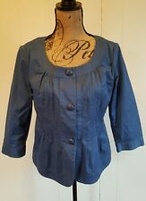 Talbots Womens SZ 6 Babydoll Jacket 3/4 sleeve Pleated Front Large Buttons Blue