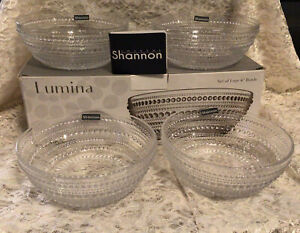 Set of 4 Godinger Lumina Crystal Glass Textured Cereal Bowls New In Box
