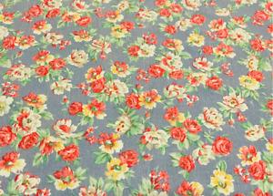 RALPH LAUREN Vintage Hope Floral Queen Flat Sheet- Dusty Blue Flowers