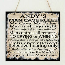 Personalised Man Cave Rules Plaque Dad Grandad Brother Uncle Birthday Gift Sign