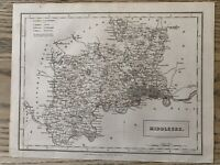 1833 MIDDLESEX ORIGINAL ANTIQUE COUNTY MAP BY SIDNEY HALL 186 YEARS OLD