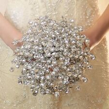 Unique Crystal White Wedding Bouquet Crystal Handmade Bridal Bridesmaid Brooch