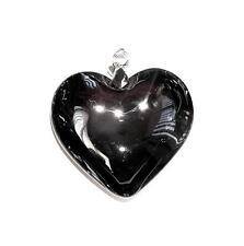 PENDANT/NECKLACE ST Glass Crystal Large Smoke Gray FLUID HEART