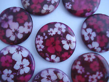 10 Round Pink/Purple Floral Shell Disc Beads 25mm