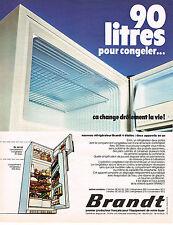 PUBLICITE ADVERTISING 064  1973  BRANDT  réfrigérateur  congélateur 90l