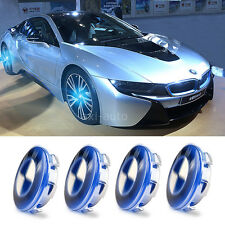 4X Car Cover Hood LED Blue Light Tire Emblem Badge Wheel Center Hub Caps For BMW