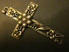 Beautiful Large Antique Vintage Sterling  Silver Lily of the Valley Floral Cross
