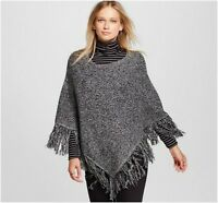 NEW Mossimo Womens Black White Poncho Sweater Cape Lightweight Size S/M