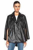 New Genuine Leather Jacket Cape Poncho Jacket Cloak Moto Paneled Flared Women