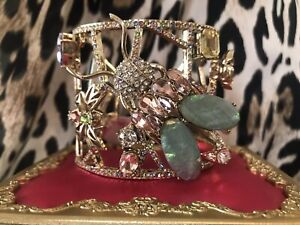 Betsey Johnson Opulent Floral Bug Insect Fly Mint Green Opal HUGE Cuff Bracelet