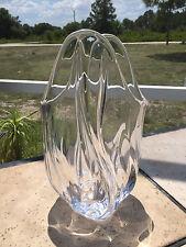 """VINTAGE VANNES LE CHATEL MID CENTURY MODERN ART GLASS 11"""" TALL VASE"""