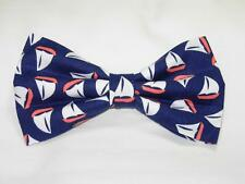 (1) PRE-TIED BOW TIE -  NAUTICAL IS NICE! TOSSED SAILBOATS ON NAVY BLUE