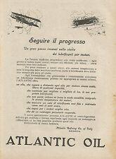 W0134 Lubrificante per motori ATLANTIC OIL - Pubblicità 1927 - Advertising