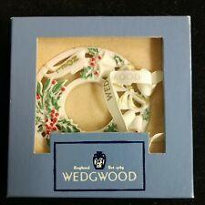 """Wedgwood Christmas Ornament """"Noel Wreath 2003 White Jasper In Box"""
