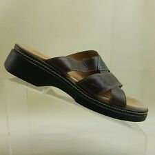 Clarks Womens Brown Leather Slide Sandals Size 9M 88398 #F58