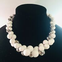 Vintage Signed Yousi Silver Tone White Bead Beaded Statement Bib Bauble Necklace