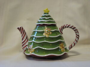 Laurie Gates Holiday Treats Christmas Tree, Candy Canes, Gingerbread Tea Pot 7""