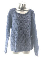 Tommy Hilfiger Women's Sweater Cable Knit Navy Blue Chunky Crewneck Size XL