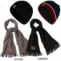 New Mens Embroided Scarf Women Cap Unisex Fleece Lined Hat