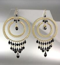 GORGEOUS Urban Artisanal Black Onyx Crystals Gold Chandelier Earrings 3810