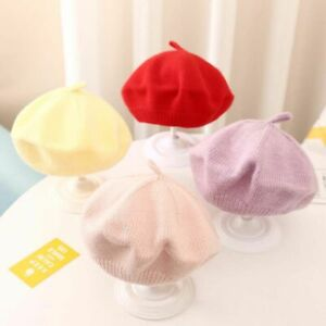 Pure color Toddler Autumn Winter Berets Hat Girl Bonnet Baby Hat Knitted Cap
