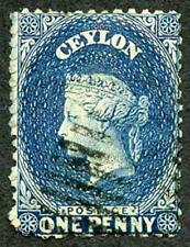Ceylon SG63ax 1d Dull Blue Wmk Crown CC Reversed Used