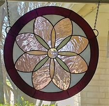Jeweled Stained Glass Window Hanging ,Round Panel