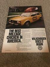 """Vintage 1981 VOLKSWAGEN VW RABBIT DIESEL Car Print Ad 1980s """"SPEEDY CHICKEN"""""""