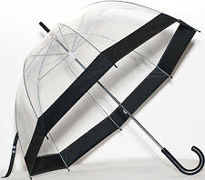 Elite See Through Clear Dome Bubble Umbrella With BLACK Trim & Handle