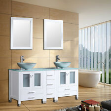 60inch Double Bathroom Vanity Cabinet Round Glass Vessel Sink Faucet &Drain New