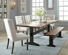 Farmhouse Style 6pcs Dining Room Set Rectangular Table Bench & Beige Chairs IC79