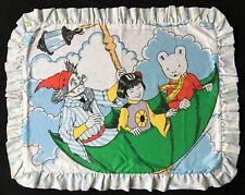 Rupert Bear Vintage 1990 Ruffled Pillow Sham Pillowcase TV Show Cartoons