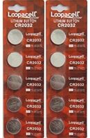 Lot of 10 PC Loopacell CR2032 WATCH BATTERIES 3V LITHIUM CR 2032 DL2032 BR2032