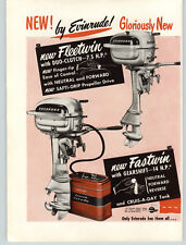 1950 PAPER AD 2 PG Evinrude Outboard Motor Duo-Clutch 7.5 HP Fleetwin Fastwin 14