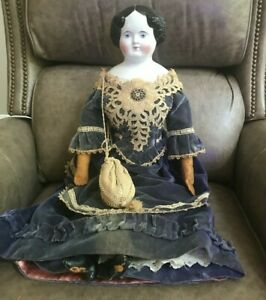 """Large 28"""" Antique German China Head Doll Leather hands and boots Antique Clothes"""