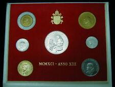1991 VATICAN RARE SOCIAL DOCTRINE JOHN PAUL 2nd 500 lire SILVER UNC COIN FOLDER