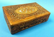 Vintage Carved Hand-Crafted Wood Stationary Jewellery Trinket Box