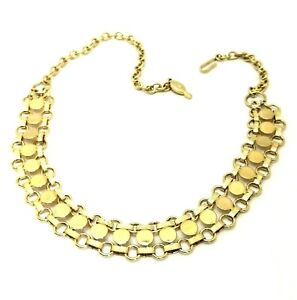 Vintage Costume Jewellery SARAH COVENTRY Gold Tone Book Chain Disc Necklace