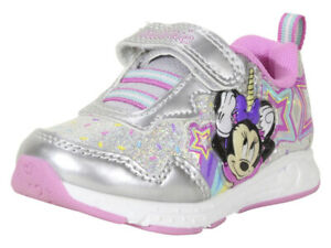 Disney Junior Toddler Girl's Minnie Mouse Silver Light Up Sneakers Shoes Sz: 7T