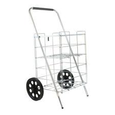 2 Wheel Folding Shopping Cart w/Folding Shelf, Silver