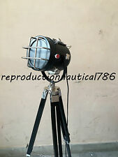 Vintage Industrial Nautical Floor Lamp W/ Wooden Tripod Marine Spot Searchlight