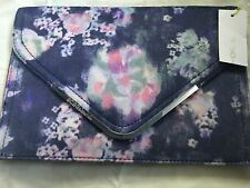 BCBGeneration Blue Night Multicolor Floral Clutch Bag -New