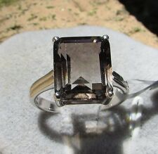 6.03 cts Genuine Bi Color Smokey Quartz Solitaire Size 7 Ring  Sterling Silver