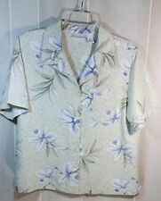 Womens Med Tropical Animal Print Button Up Shirt Blouse SSleeve Blue Orchid WT73