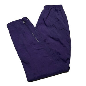Vintage 90s Nike Youth M Embroidered Swoosh Nylon Tapered Sweatpants Blue/Purple