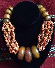Vintage Berber Moroccan Copal Amber Coral Necklace Huge