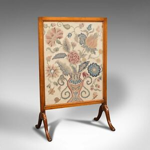 Antique Embroidered Fire Screen, Walnut, Needlepoint Tapestry, Victorian, 1900