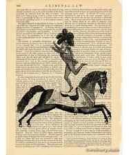 Equestrian Hero Acrobat Art Print on Antique Book Page Vintage Illust Circus