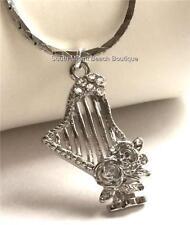 "Silver Crystal Celtic Harp Necklace Pendant Rose Music Teacher Musician Gift 18"""